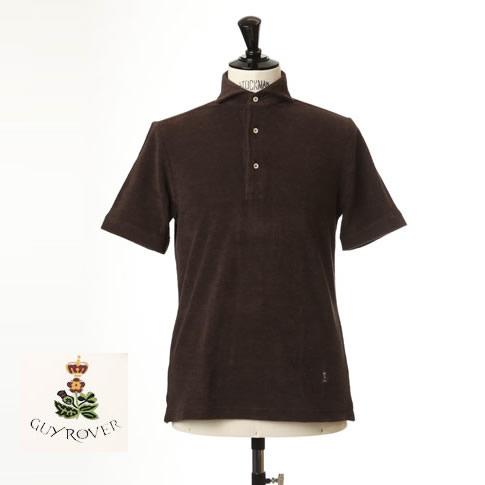 Guy Rover / ギローバー パイル地ポロ カッタウェイ 半袖ポロシャツ 台衿付き ホリゾンタルワイドカラー pc234-591501-15 ブラウン
