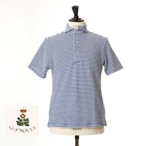Guy Rover / ギローバー パイル地ポロ カッタウェイ 半袖ポロシャツ 台衿付き ホリゾンタルワイドカラー pc234-591515-01 ブルーボーダー柄