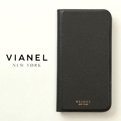 VIANEL NEW YORK ヴィアネル iPhone Case アイフォンケース 手帳型 カーフレザー ブラック iPhone X , iPhone XS Case pcv0122