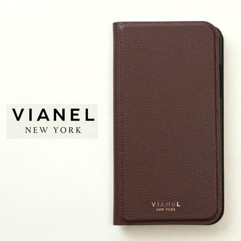 VIANEL NEW YORK ヴィアネル iPhone Case アイフォンケース 手帳型 カーフレザー ボルドー iPhone X , iPhone XS Case pcv0123