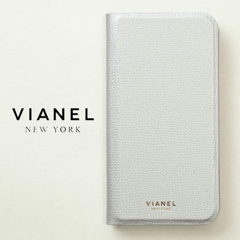 VIANEL NEW YORK ヴィアネル iPhone Case アイフォンケース 手帳型 カーフレザー シルバー iPhone X , iPhone XS Case pcv0124