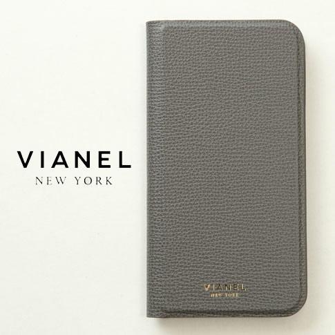 VIANEL NEW YORK ヴィアネル iPhone Case アイフォンケース 手帳型 カーフレザー グレー iPhone X , iPhone XS Case pcv0125