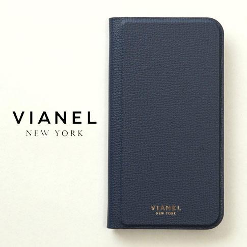 VIANEL NEW YORK ヴィアネル iPhone Case アイフォンケース 手帳型 カーフレザー ネイビー iPhone X , iPhone XS Case pcv0126