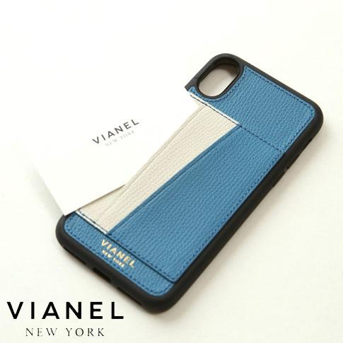 VIANEL NEW YORK ヴィアネル iPhone Case アイフォンケース カードフォルダー付 カーフレザー ブルー&クリーム iPhone X , iPhone XS Case pcv0252