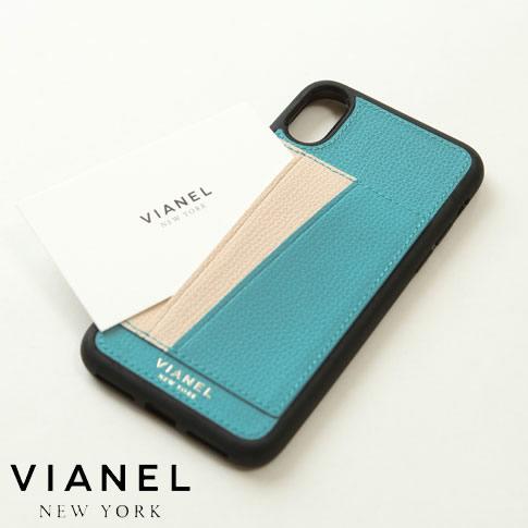 VIANEL NEW YORK ヴィアネル iPhone Case アイフォンケース カードフォルダー付 カーフレザー ターコイズ&クリーム iPhone X , iPhone XS Case pcv0254
