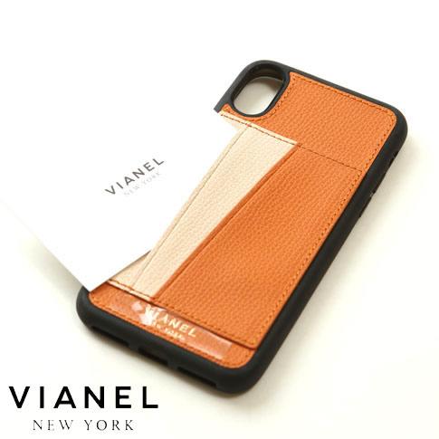 VIANEL NEW YORK ヴィアネル iPhone Case アイフォンケース カードフォルダー付 カーフレザー オレンジ&クリーム iPhone X , iPhone XS Case pcv0255