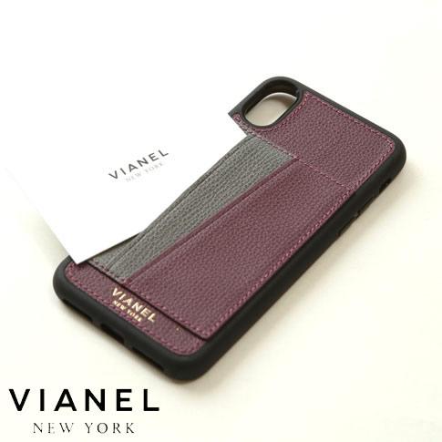 【全品送料無料】VIANEL NEW YORK ヴィアネル iPhone Case アイフォンケース カードフォルダー付 カーフレザー ボルドー&グレー iPhone X , iPhone XS Case pcv0257