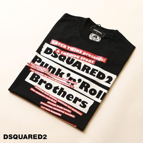 ディースクエアード / DSQUARED2 / ディースクエアード 半袖 Tシャツ / PUNK'N'ROLL BROTHERS BLACK T-SHIRT プリントクルーネックTシャツ カットソー ブラック s74gd0484-900
