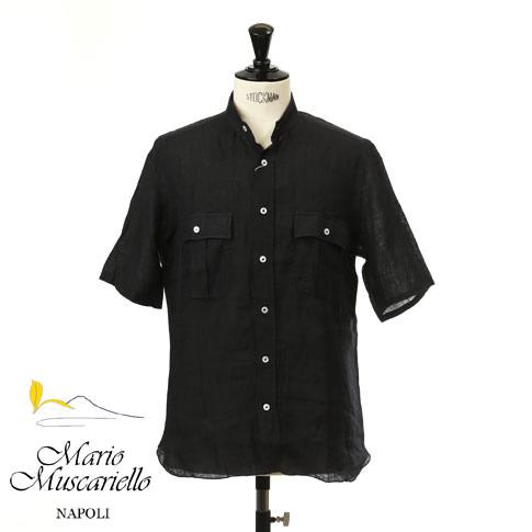 Mario Muscariello / マリオムスカリエッロ メンズ リネン スタンドカラー サファリシャツ 半袖シャツ ブラック stand-r2mc-148