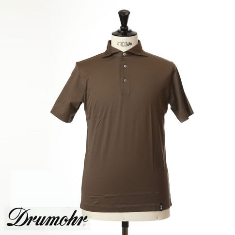 ドルモア DRUMOHR ドルモア ポロシャツ マーセライズコットン ホリゾンタルワイドカラー ブラウン ytm202-565