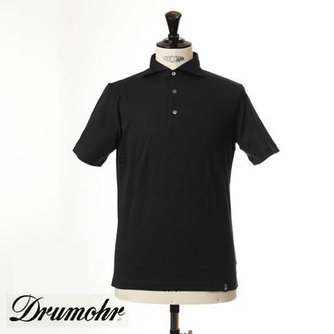 ドルモア DRUMOHR ドルモア ポロシャツ マーセライズコットン ホリゾンタルワイドカラー ブラック ytm202-690