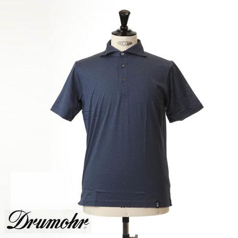 ドルモア DRUMOHR ドルモア ポロシャツ マーセライズコットン ホリゾンタルワイドカラー ブルーネイビー ytm202-756