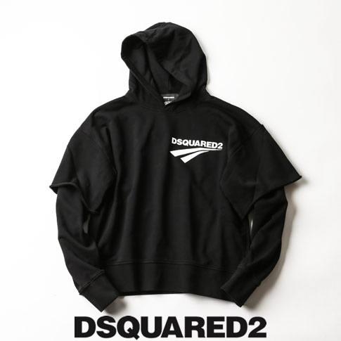 【全品送料無料】【2020-21秋冬最新作がいきなりのお値打ち価格に!】ディースクエアード / DSQUARED2 / ディースクエアード レイヤード パーカー オーバーサイズフーディ Flash Logo Layered Sweatshirt ブラック s74gu0440-900