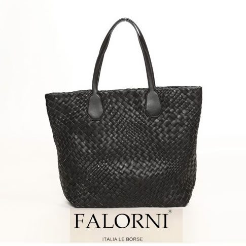 【2020半期決算セール】FALORNI/ファロルニ イントレチャート トートバッグ ミディアムサイズ BLACK ブラック 03851-F143