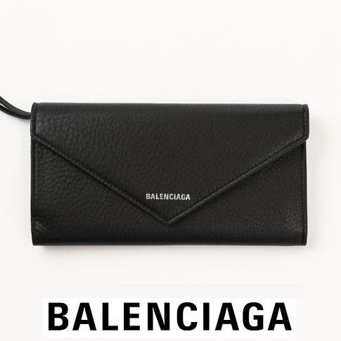 【2020半期決算セール】バレンシアガ 財布 レディース BALENCIAGA 長財布 PAPIFR 7A THIN MONEY レザーウォレット Black ブラック 499207 DLQ0N 1000