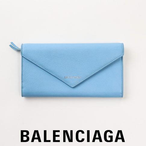 【2020半期決算セール】バレンシアガ 財布 レディース BALENCIAGA 長財布 PAPIFR 7A THIN MONEY レザーウォレット BABY BLUE/ライトブルー 499207 DLQ0N 4804