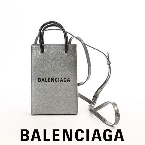 【2020半期決算セール】超レアカラー!バレンシアガ BALENCIAGA ショッピング フォン ホルダー メタリック シルバー Iphone cover silver 5938261j63n-8120