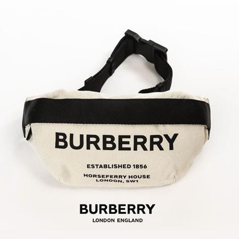 【2020半期決算セール】BURBERRY バーバリー コットンキャンバス ボディバッグ BURBERRY ロゴプリント レザートリム ミディアム ホースフェリープリント バムバッグ 80146411