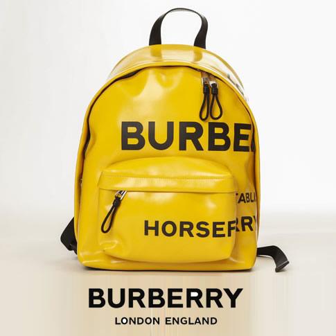 【全品送料無料】BURBERRY バーバリー ホースフェリープリント コーティングキャンバス バックパック イエロー 80219091