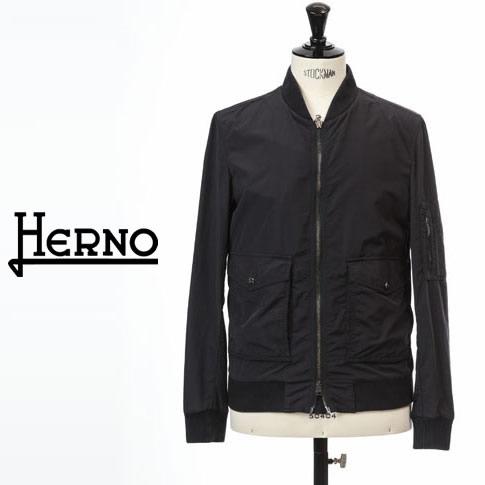 【2020半期決算セール】HERNO / ヘルノ メンズ MA-1 ボンバー ジャケット スプリング ショート ブルゾン ダークネイビー GI0194U-9200
