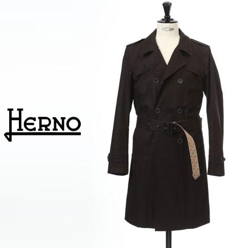 【2020半期決算セール】HERNO / ヘルノ メンズ モノグラム コットン ダブル トレンチコート スプリングコート Rain Collection ダークネイビー IM0234U-9200