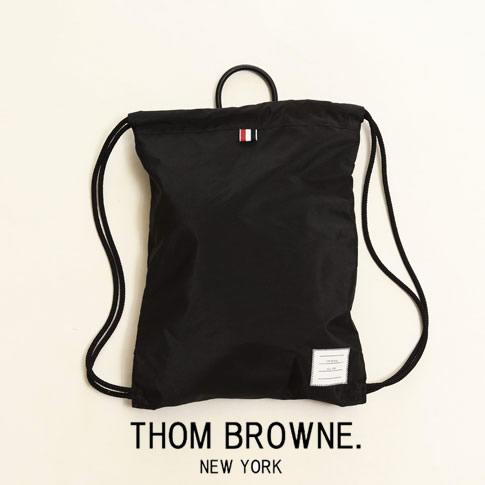 【2020半期決算セール】トムブラウン THOM BROWNE. バックパック ナップサック ブラック DRAW CODE BAG MAG160A05452001