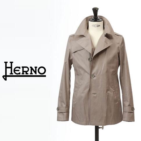 【2020半期決算セール】HERNO / ヘルノ メンズ モノグラム コットン トレンチジャケット スプリングコート Rain Collection グレーベージュ PE0018U-8300