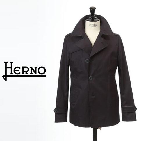 【2020半期決算セール】HERNO / ヘルノ メンズ モノグラム コットン トレンチジャケット スプリングコート Rain Collection ダークネイビー PE0018U-9200