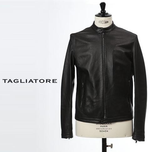 【2020半期決算セール】タリアトーレ TAGLIATORE シングルライダースレザージャケット パンチングシープレザー RIVER RUE20-02 NERO/ブラック