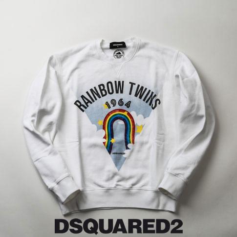 【2020半期決算セール】ディースクエアード / DSQUARED2 / ディースクエアード オーバーサイズ トレーナー スウェットシャツ Sweatshirt / DSQUARED2 Rainbow Twinsロゴ プリント ホワイト s71gu0360-100