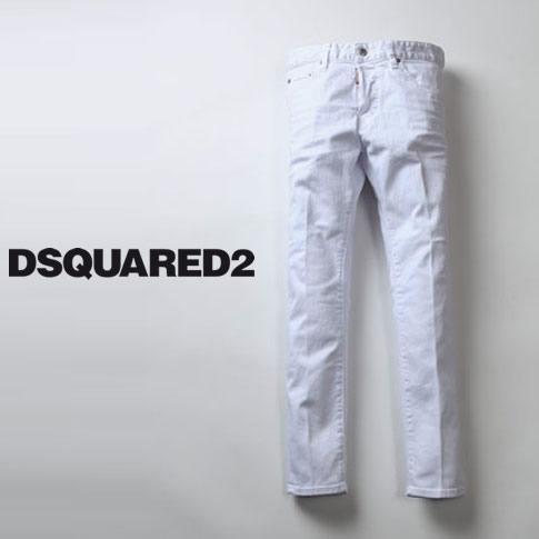 【2020半期決算セール】DSQUARED2 ディースクエアード 白デニム メンズ SKINNY DAN JEAN スキニー テーパード デニムパンツ ストレッチ ホワイトデニム Stretch Bull Garment Dyed S71LB0734 100