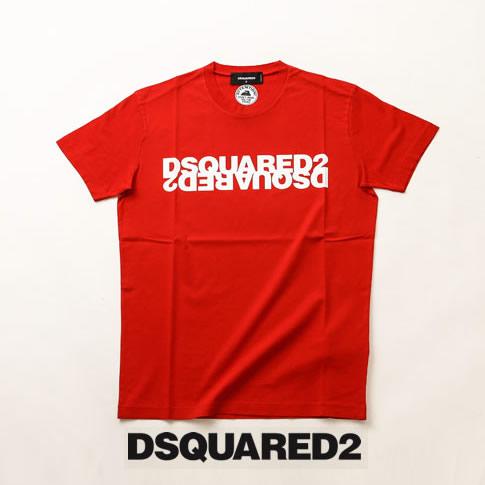 【2020半期決算セール】ディースクエアード / DSQUARED2 / ディースクエアード 半袖 Tシャツ DSQUARED2xDSQUARED2反転プリント クルーネックTシャツ カットソー レッドxホワイト s74gd0635-307