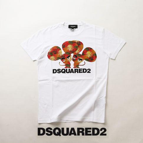 【全品送料無料】ディースクエアード / DSQUARED2 / ディースクエアード 半袖 Tシャツ DSQUARED2 ツインプリント クルーネックTシャツ カットソー ホワイト s74gd0654-100