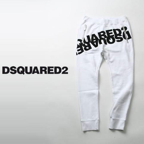 【2020半期決算セール】ディースクエアード / DSQUARED2 / ミラーロゴプリント ディースクエアード スウェットパンツ Mirrored Logo Sweatpants ホワイト s74kb0377-987