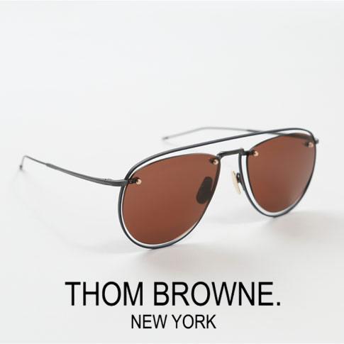 【全品送料無料】【超レアモデル入荷!】トムブラウン アビエーターサングラス THOM BROWNE.NEW YORK [TBS113 59-03 Navy Enamel]12K Gold Metal Aviator Sunglasses Dark Brown Lens