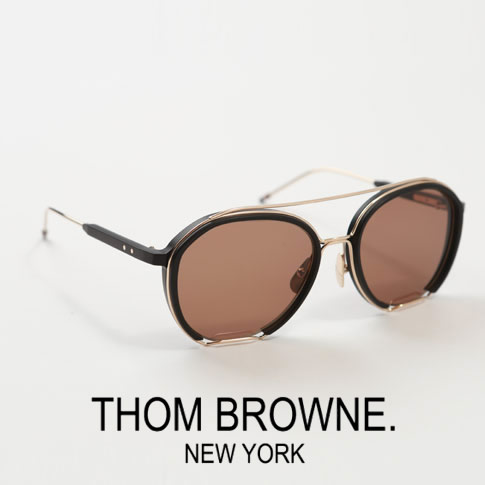 【全品送料無料】【超人気モデル限定入荷!】トムブラウン サングラス ティアドロップ THOM BROWNE. NEW YORK EYEWEARトムブラウン メガネ TBS810-56-01 Black - White Gold w/ Dark Brown - AR