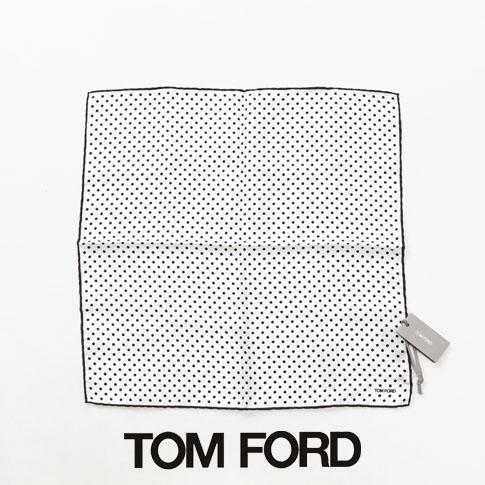 【全品送料無料】TOM FORD トム・フォード ポケットチーフ フォーマル Pochette 100% SILK ホワイトxブラックドット TFZ91 TF312/A