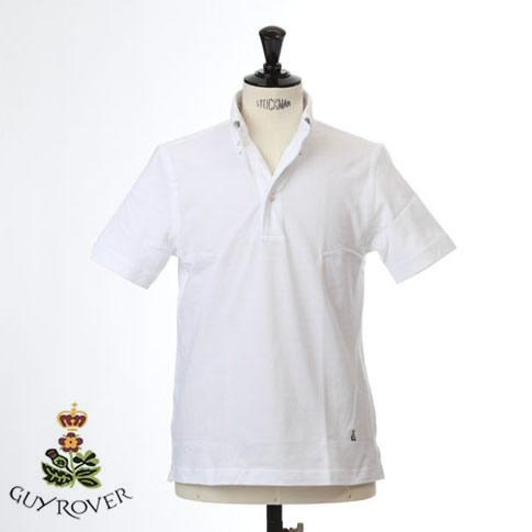 【国内正規品】Guy Rover ギローバー 鹿の子ポロ ボタンダウン 半袖ポロシャツ 台衿付き ホワイト ts-pc224-501500-01