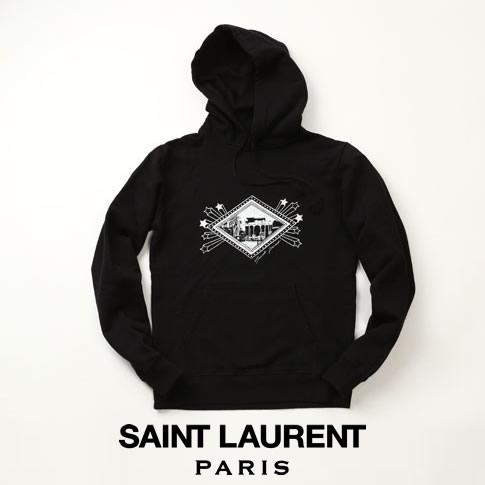 【全品送料無料】サンローラン SAINT LAURENT ジャルダン マジョレル スウェットパーカー ブラック BLACK 605507-ybpf2