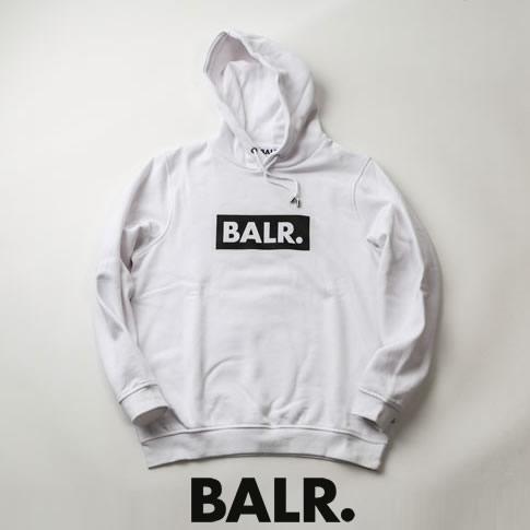 【2020半期決算セール】ボーラー BALR. パーカー CLUB HOODIE ボックスロゴプリント スウェット フーディー ホワイト b10038-white