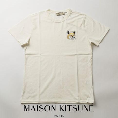 【2020半期決算セール】MAISON KITSUNE メゾンキツネ 半袖 Tシャツ オフホワイト TEE-SHIRT BIG PASTEL FOX HEAD PATCH EM00154KJ0008-OW