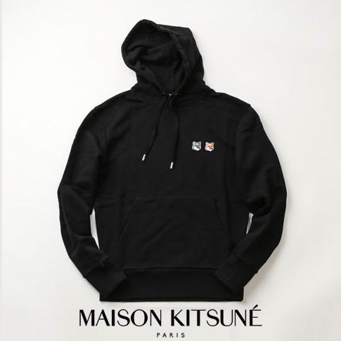 【2020半期決算セール】MAISON KITSUNE メゾンキツネ スウェット パーカー ブラック HOODIE DOUBLE FOX HEAD PATCH EU00353KM0001-BK
