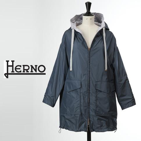 【全品送料無料】HERNO / ヘルノ レディース リバーシブル コート モノグラム柄 ブルーxシルバー GC0276D-9401