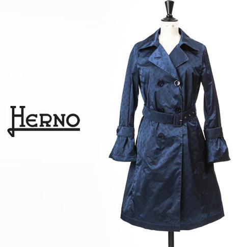 【全品送料無料】HERNO / ヘルノ レディース モノグラム柄トレンチコート 撥水 ナイロン ネイビー IM0121D-9201