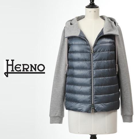 【全品送料無料】HERNO / ヘルノ レディース ダウンxジャージー 切り替えデザイン フーテッド ダウンジャケット ブルーxグレー PI1074D-12017-9002