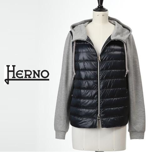 【全品送料無料】HERNO / ヘルノ レディース ダウンxジャージー 切り替えデザイン フーテッド ダウンジャケット ネイビーxグレー PI1074D-12017-9200