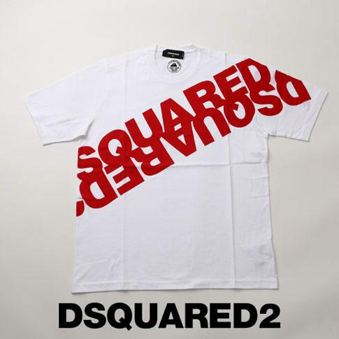 【2020半期決算セール】ディースクエアード / DSQUARED2 / ミラーロゴプリント ディースクエアード オーバーサイズ 半袖 Tシャツ Mirrored Logo T-Shirt ホワイト s74gd0664-989x