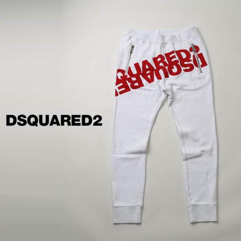 【2020半期決算セール】ディースクエアード / DSQUARED2 / ミラーロゴプリント ディースクエアード スウェットパンツ Mirrored Logo Sweatpants ホワイトxレッド s74kb0377-969