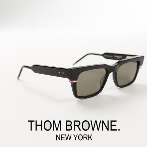 【全品送料無料】トムブラウン サングラス ウエリントンシェイプ THOM BROWNE. NEW YORK EYEWEAR トムブラウン トリコロールチップ 眼鏡 ブラック TBS714-A-01