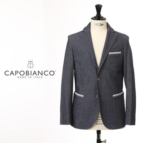 【スーパーバリュー】Capobianco/カポビアンコ ジャージーコットンジャケット【春夏】鹿の子ネイビーxグレー全3色